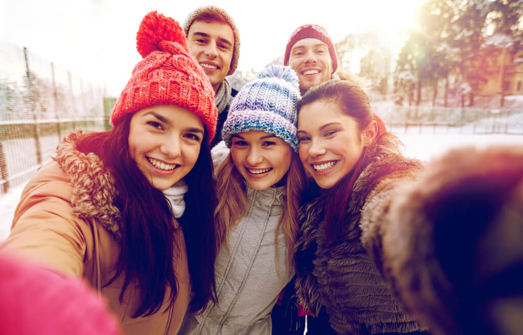 Young people selfie in winter